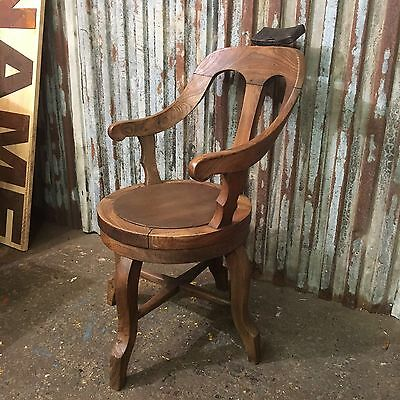 Old Vintage Rare Antique Original Solid Elm Swivel Barbers Chair Barbershop