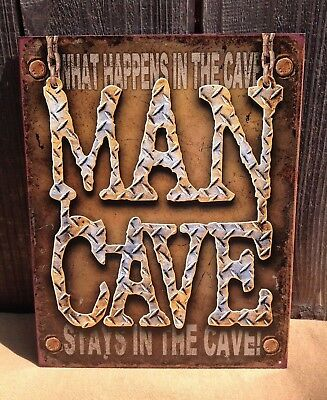Nostalgic Tin Metal Sign What Happens In The Man Cave Diamond Plate #1701