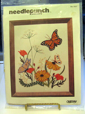 "Paragon  Needle Punch Embroidery Kit -Country Garden Butterflys #1837  8x10"" NIP"