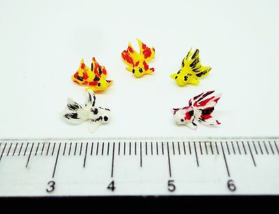 1:12 Scale Mixed 5 Chinese Goldfish For A Dolls House Miniature Garden Pond