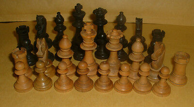 Vintage Wooden Chess Pieces In Box