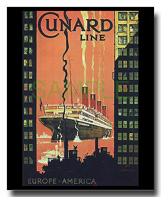 Cunard Line Europe America Aquitania skyscapers New York repro poster 1920s