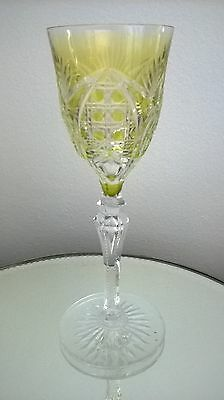 Val Saint Lambert Yellow Lime Cut To Clear Wine Glass Richepin Vintage Signed