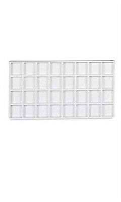 "Box of 5 New White Plastic Tray Inserts with 32 Compartments 14""W x 7 1/2""L"