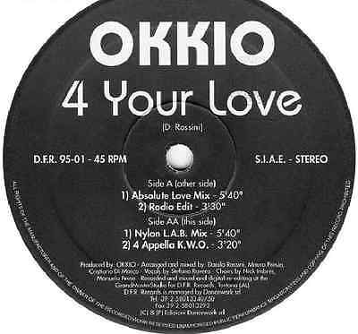 "Okkio "" 4 Your Love""  12"" Dfr Records  Mint ** Very Wanted **"
