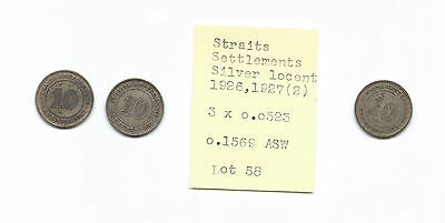 WORLD SILVER COIN LOT #58 Straits Settlements 10 cents 1926,1927(x2) 0.1569 ASW