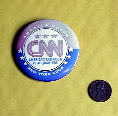 Vintage Elections 2004 CNN America Votes New York - Button/Pin