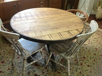 Vintage Industrial Natural Pine Wood Metal Kitchen Dining table