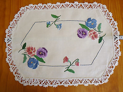PRISTINE PANSIES Hand Embroidered Table Centre on Ecru Linen VINTAGE