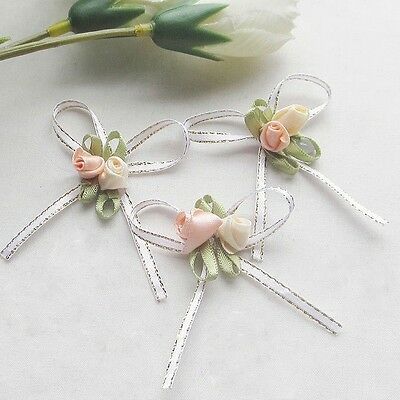 8 Satin Ribbon Flowers Bows w/rose Wedding Decor Appliques #509