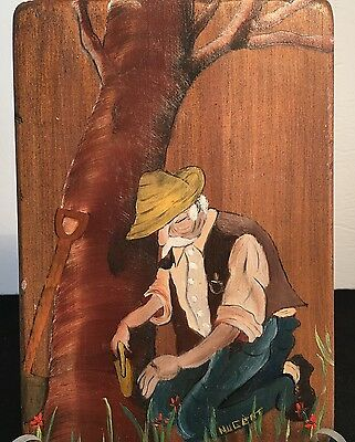 Nugent Art OIL On Wood Painting Original Wall Plaque Old Man Planting