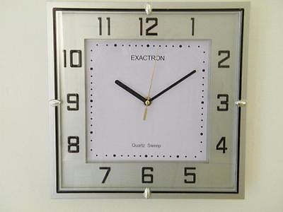 """Large Silver Square Silent Operation Clock Home Office Stylish Classic Clock 11"""""""