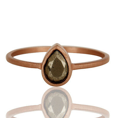 Natural Pyrite Gemstone Ring Rose Gold Plated 925 Sterling Silver Jewelry