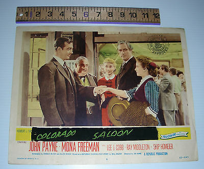 Lobby card ROAD to DENVER Mona Freeman John Payne Lee J. Cobb French title #3