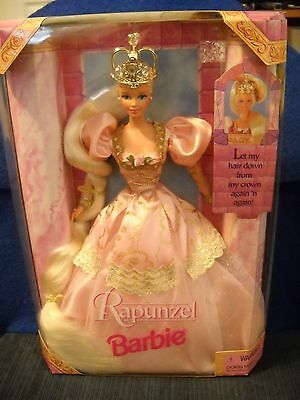 Rapunzel Barbie Doll Pink Gown Blonde Hair Jewel Crown NIB 17646 w/ Instructions