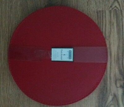New Set of 4 Red Round Faux Leather Table Placemats