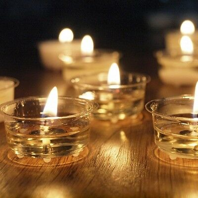 50 x Clear Cup 8 Hour Tealights Candles 8 Hour Burn Home Weddings Events EF
