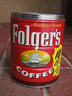 Vintage 1959 FOLGERS COFFEE CAN ADVERTISING CLIPPER SHIP 2# Key Wind, NO RUST!