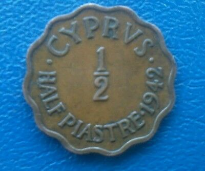 1942 CYPRUS 1/2: HALF  PIASTRE . A large portion of the mintage was destroyed