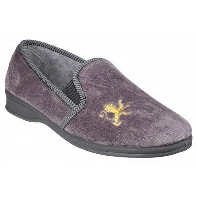 Mirak WARMINSTER Mens Elasticated Comfort Embroidered Cosy Full Slippers Grey