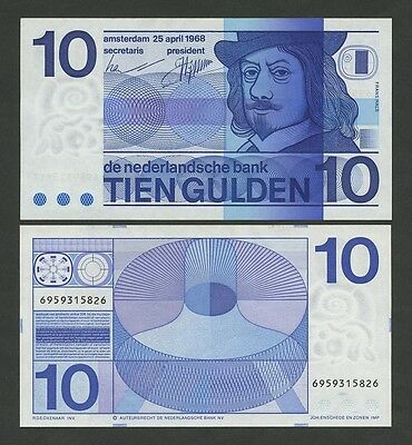 NETHERLANDS - 10 gulden  1968  P91b  Uncirculated  ( Banknotes )