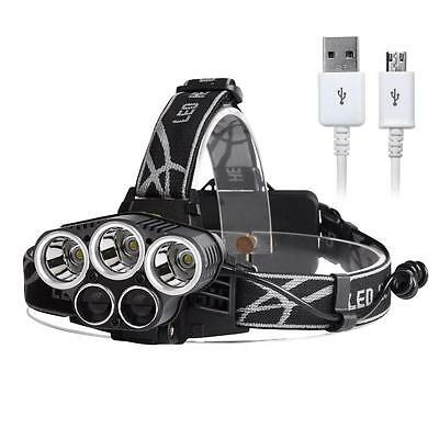 40000LM CREE XM-L 5 X T6 LED USB Rechargeable lampe frontale Headlight torche AC