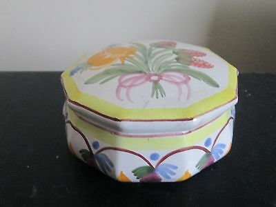 Vintage Hb Quimper French Faience Lidded Trinket Box Pot Berries & Flowers
