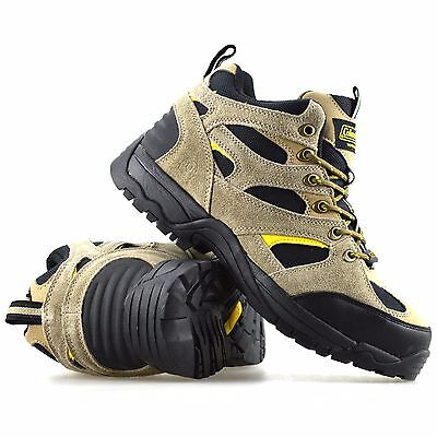 Mens Leather Safety Steel Toe Cap Walking Hiking Ankle Boots Trainers Shoes Size