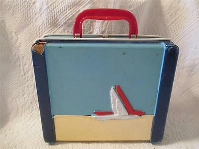 VintageBlue with Red/White Bird Lunch Box Plastic over Corrogated Cardboard