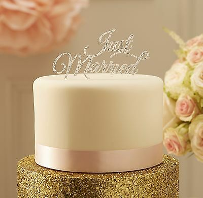 JUST MARRIED Silver Cake Topper