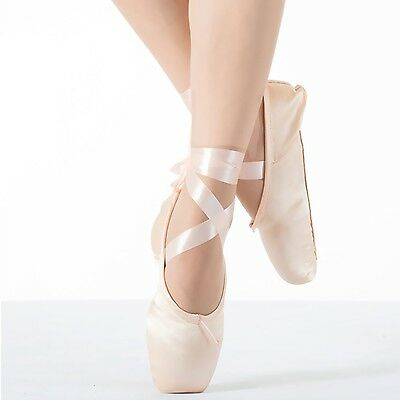 Women's Ballet Satin Pointe Shoes Dance Shoes With Silica-gel Toe Pads US 3.5