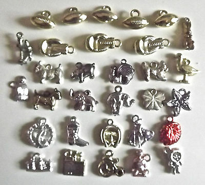 Vintage Metallic Plastic Gumball Charm Toy Prizes Lot Of 31