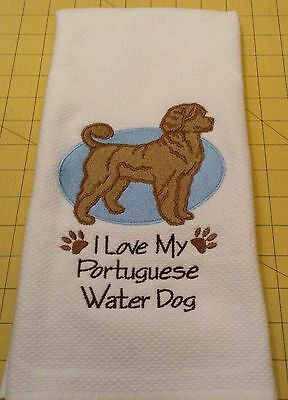 I Love My Portuguese Waterdog (Brown) Embroidered Kitchen Hand Towel, xtra lg
