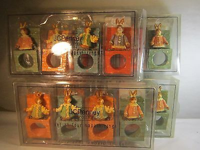"""Pennys Home Collection 16 Easter Napkin Rings Bobble Bunnies in a Box  3.5x1.75"""""""