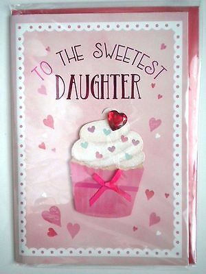 """Luxury Embellished 3D """"to The Sweetest Daughter"""" Valentine Greeting Card"""