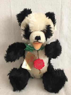 """12"""" Teddy Hermann Original Black & White Panda Jointed Red Disc/Paper Tag Attach"""