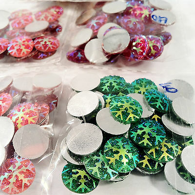 200pcs SNOWFLAKE EMBELLISHMENTS - craft cardmaking cabochon toppers