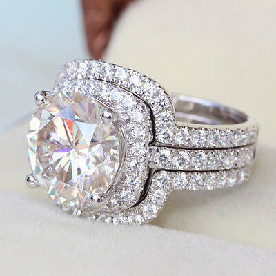 4cttw 3 set big luxury diamond ring engagement proposal bridal nscd sona band