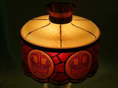 Vintage small Plastic RED CROWN GASOLINE Lamp / Light Shade