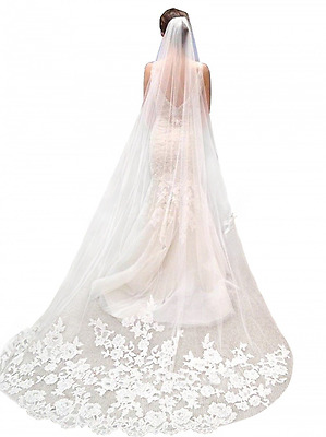Misshow White Lace Edge Cathedral Length Wedding Bridal Veil with Comb
