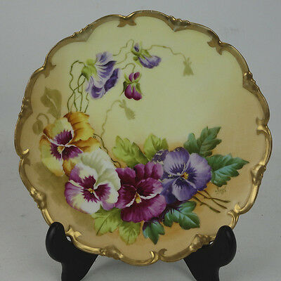 Fine Artist Signed Hand Painted Plate Pansies Vienna Austria By Fugl