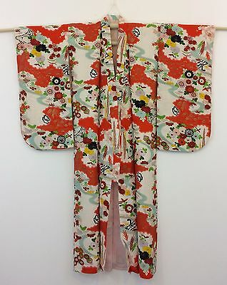 Authentic silk crepe Japanese kimono for girls, imported from Japan (F986)