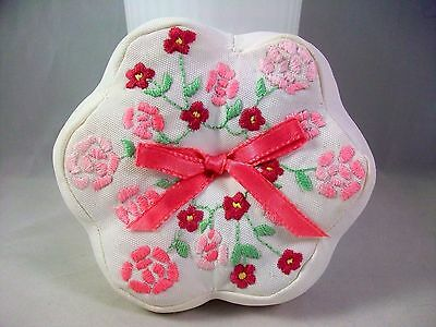 Handmade Pin Cushion Embroidered Pink Flowers