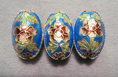 3 Blue Cloisonne Beads Handmade Oval Shaped Vintage For Earrings Or Necklace