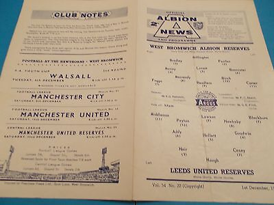 1962-63 West brom reserves v Leeds utd reserves
