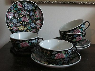 Chinese Export Porcelain Famille Rose Noire Black Tea Cup And Saucer Set Of 4