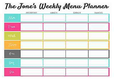 A4 Personalised Weekly Meal Planner - Add name - Reusable - with Pen - D1