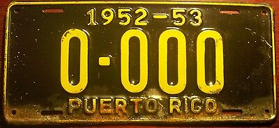 1952 1953  Puerto Rico Vintage Sample All Zeros License Plate Island 0-000 Rare