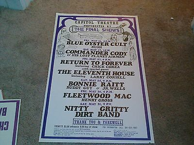 Rush Fleetwood Mac Stevie Nicks Bonnie Raitt Blue Oyster Cult  Concert Poster
