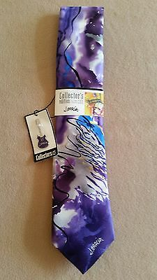 Jerry Garcia Grateful Dead Heads Silk Ties POETS ABSORB THE WAR with Guitar Pin